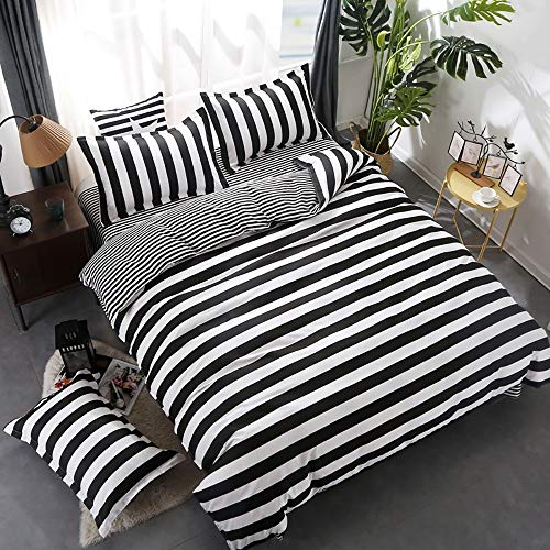 Wuy Black And White Bedding Set 3pc Striped Duvet Cover